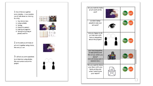 Consent form examples - clear large text on left hand side of page with images and yes/no buttons to the right