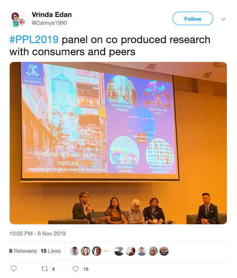 Screengrab of Tweet featuring photo of panel. Text reads Vrinda Edan ‏@Carinya1990 #PPL2019 panel on co produced research with consumers and peers
