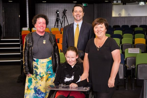 Group photo of Emily Dash, Carly Findlay and Alastair McEwin and Julie McCrossin at the launch event.