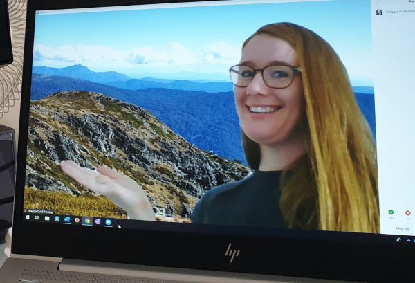 Person on computer screen with mountain backdrop