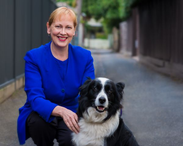 Professor Bernadette McSherry with her dog, Toby (a Border Collie)